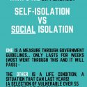Social Isolation Vs Self Isolation